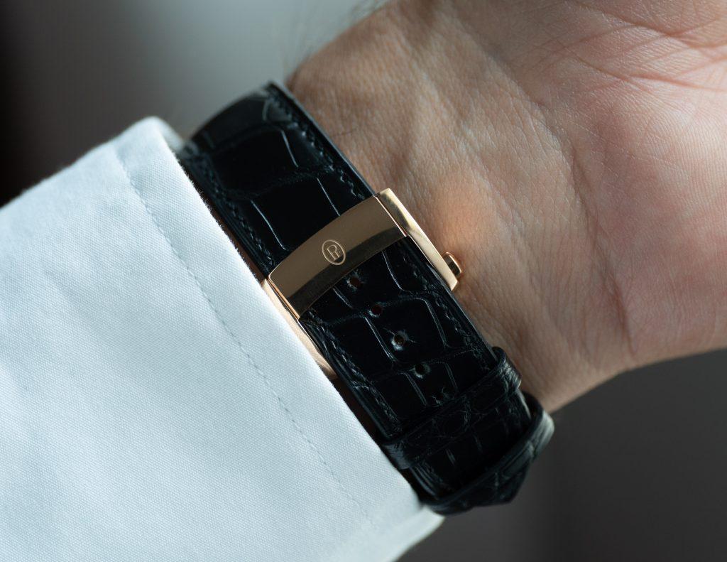 Parmigiani Fleurier Kalpa Hebdomadaire Hermès Leather Strap and Gold Clasp