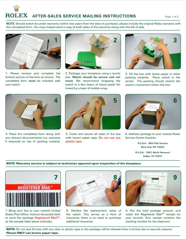 Rolex Service Center Instructions